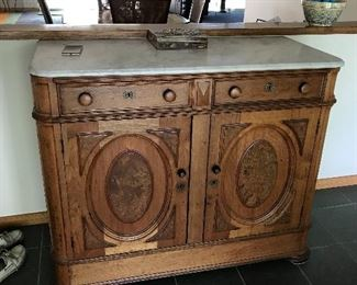 ANTIQUE WALNUT MARBLE TOP BUFFET SERVER SIDEBOARD