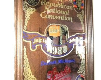 STROH'S BEER 1980 FRAMED MIRROR- GOP REPUBLICAN NATIONAL CONVENTION -DETROIT, Mi