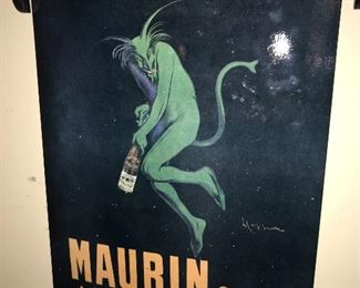 MAURINE QUINA LE PUY GREEN DEVIL FRENCH LIQUOR POSTER ADVERTISMENT
