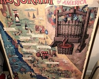 VINTAGE CALIFORNIA WINE LAND OF AMERICA MAP/POSTER