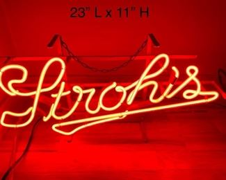 STROHS RED NEON SIGN