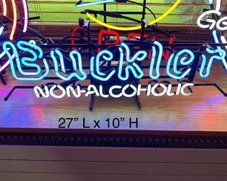 VINTAGE BUCKLER NON ALCOHOLIC NEON SIGN