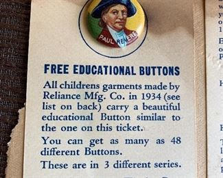 YANK JUNIOR EDUCATIONAL BUTTON COLLECTION