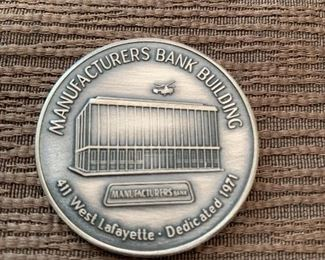 1971 COMMEMORATIVE COIN/TOKEN MANUFACTURES NATIONAL BANK OF DETROIT