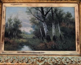 Oil on canvas landscape with birch trees— by 18th central. French artist, Charles Tenot, Barbizon  School