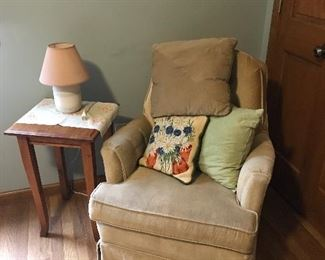 Comfy chair and nice side table.