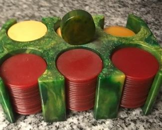 Vintage marbled green and yellow bakelite /Catalin  poker  chips holder