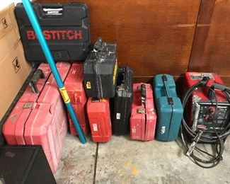 All kinds of power tools including Dewalt, Bostitch, Lincoln Electric mig welder pro mig 135, Milwaukee sander, Makita grinder,Porter Cable nail gun and more .