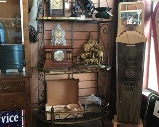 Vintage Bakers Rack with lots of old Clocks