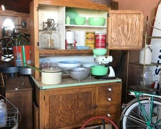 Antique Kitchen Cabinet with Jadite