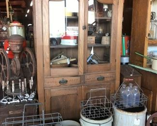 Antique Pie Safe with Milk Bottle Crates, Crocks, vintage kitchen Primitives