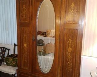 Single door wardrobe/chifforobe with mirror - Imported English antique.