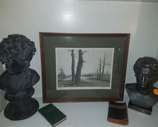 Butler Brown numbered, autographed, framed print, cast iron busts (Alexander the Great), & more.