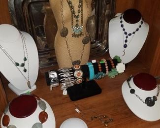 Jewelry & jewelry displays. These pieces are from Kimberly's Antiques. Mini mannequin display and necklace displays, bracelets, & necklaces.