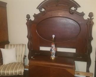 Victorian headboard, accent chair, Lane Waterfall cedar chest, table lamp, and more.