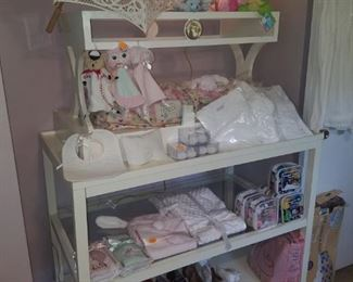 White and glass display shelving (2 pieces to be sold separately) by Spartina. New baby gifts (part of Kimberly's closeout), parasol, toys, girl's teapot lamp, shoes, & more.