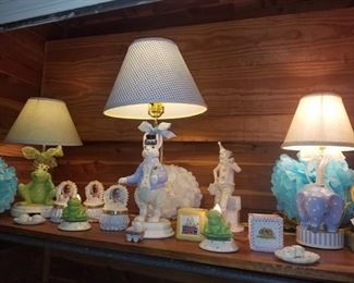 Variety of lamps for a child's bedroom: Peter Rabbit, frog, blue elephant, & small frogs. Trinket boxes, first tooth/hair lock boxes, cube banks, and more. Part of Kimberly's Antiques closeout