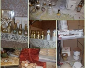 Part of the fragrance collection from the Kimberly's closeout - soaps, perfume, linen spray, powder, lotion, & more.  Finn & Co., Shelley Kyle, Eau de Plaisir, & more.