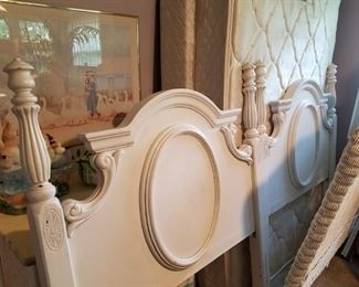 Matching twin, white-painted, wooden headboards
