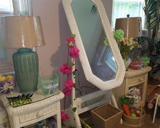 White wicker bedside tables, full length mirror, wicker table lamps, sewing kit, & more