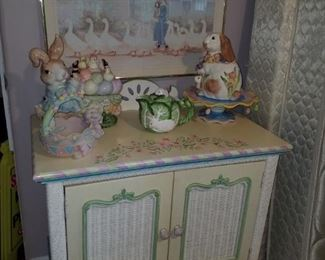Hand painted white wicker cabinet, Fitz & Floyd and other bunny décor