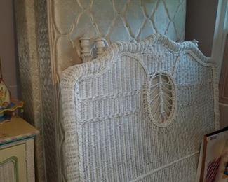 Full size white wicker bed