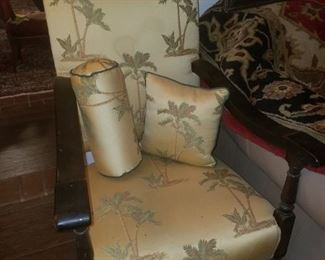 Large accent chair with matching pillows