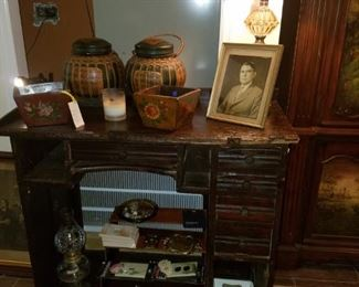 Antique jewelry table from the original Kimberly's Jewelry Store. Also, an original jewelry display stand from the store. American prescut oil lamp, cabinet hardware, planters, & more.