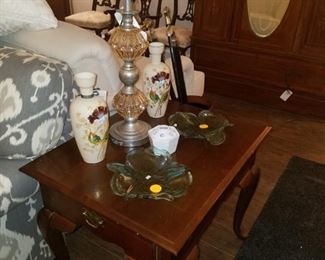 End table, table lamp, Annie glass, vases, and more.