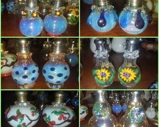 Blown glass salt/pepper sets