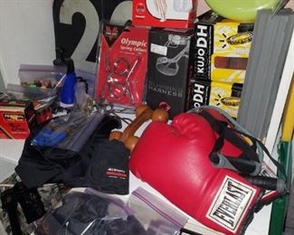 Sporting equipment including boxing gloves, P90X DVDs, Kujo DH mountain bike tires, 20 yard marker, and more.