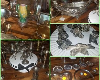 Majolica corn pitcher, silver plate pieces, Annie glass, collection of detailed napkin rings, milk glass cake plate, platters, & more.