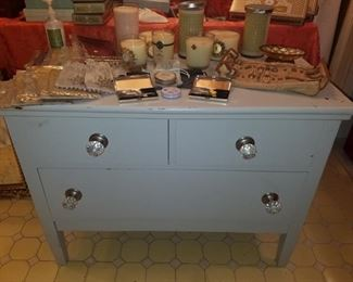 Painted wash stand, candles, and more.