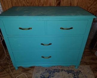 Painted small wooden chest
