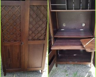 Small computer desk that closes to look like a small wardrobe/armoire