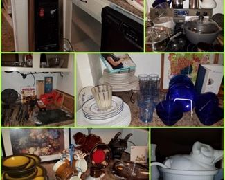 Dishes, water dispenser, pig covered soup tureen, large Dutch oven, grilling accessories, & more