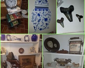 Shark's teeth, antique baby carriage, silver plate bowl, floor ashtray, & more.