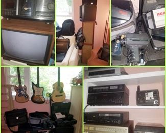 vintage sound/stereo equipment & video including RCA camcorders, Panasonic video camera, speakers including Sony surround sound, 200 disc CD disc changer, Yamaha sound equipment including cassette deck, phonograph, audio exchange center, and more. Kodak slide changer.