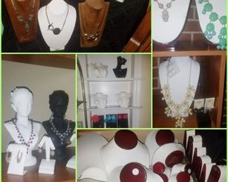 Various jewelry displays & necklaces/earrings