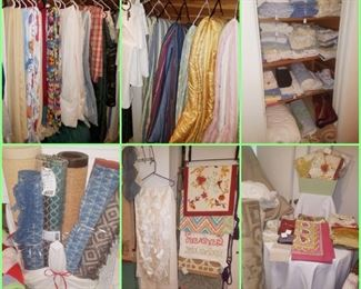Linens including rugs, quilts, sheets, tablecloths, towels, napkins, table runners, & more!