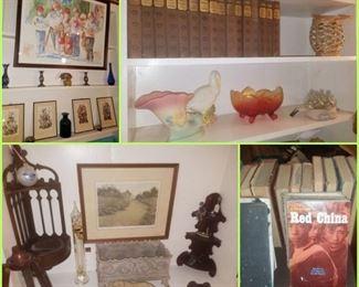 Vintage books, Hull pottery, Hummel framed prints, Butler Brown numbered print, & more.