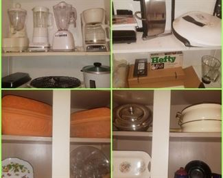Small kitchen appliances, oyster plate, dishes, & covered clay bakers.