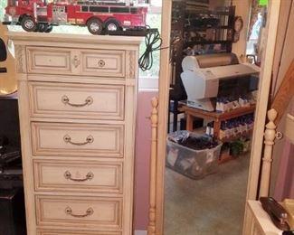 Lingerie chest, full length mirror, toy fire trucks, & more