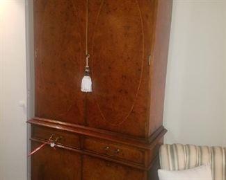 Antique burl walnut chifforobe/wardrobe/armoire.