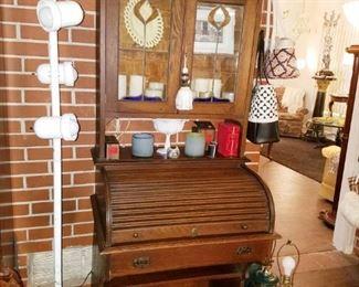 Antique cylinder roll top tiger oak desk