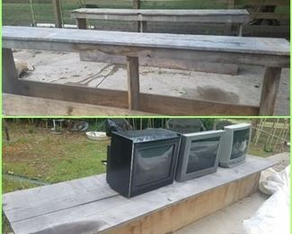 Barn wood buffets & long child's bench/table. Televisions.