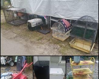 Animal crates, bird cages, mini refrigerators, retro yellow metal shelf, tiller, smoker, & more