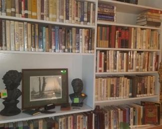 Books, cast iron busts, Butler Brown print (framed, signed, & numbered)