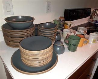 Stoneware dishes and mugs