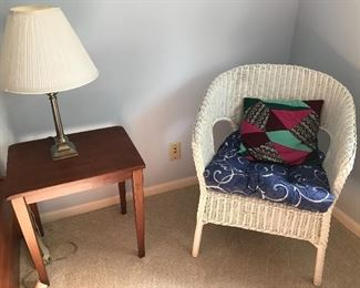 Wicker Chair, Wood Side Table with Lamp